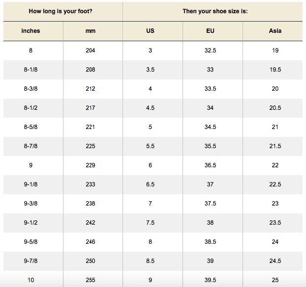 women's shoe size chart