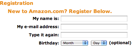 Amazon Sign-up in English
