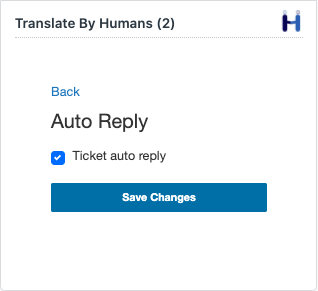 Enabling auto reply on the Translate By Humans Zendesk app